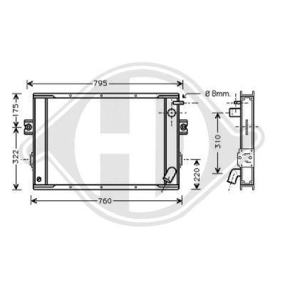 Radiateur, refroidissement du moteur - Diederichs Germany - 8213100