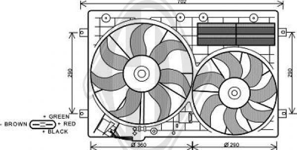 Ventilateur, refroidissement du moteur - Diederichs Germany - 8229503