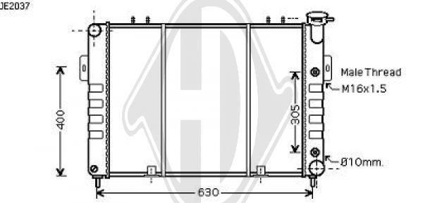 Radiateur, refroidissement du moteur - Diederichs Germany - 8261006