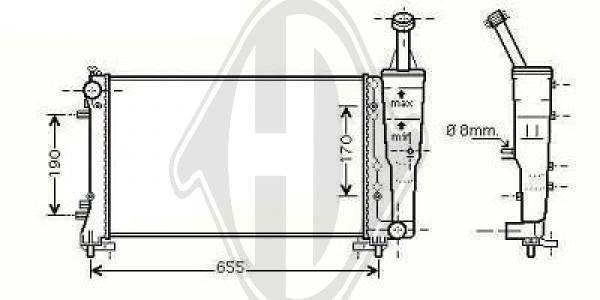 Radiateur, refroidissement du moteur - Diederichs Germany - 8321303
