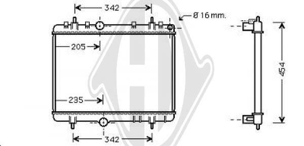 Radiateur, refroidissement du moteur - Diederichs Germany - 8407205
