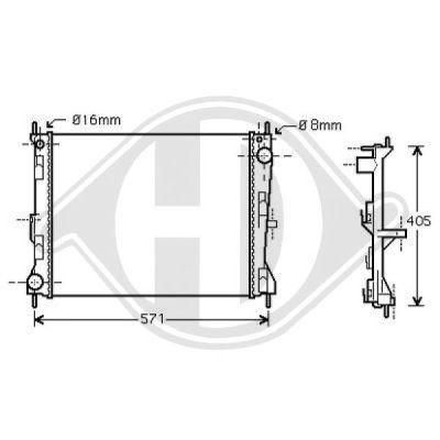 Radiateur, refroidissement du moteur - Diederichs Germany - 8440506