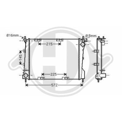 Radiateur, refroidissement du moteur - Diederichs Germany - 8441402