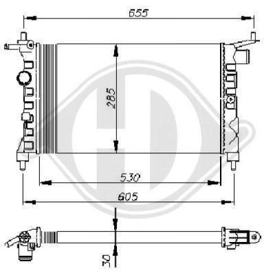 Radiateur, refroidissement du moteur - Diederichs Germany - 8502737