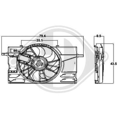 Ventilateur, refroidissement du moteur - Diederichs Germany - 8761407