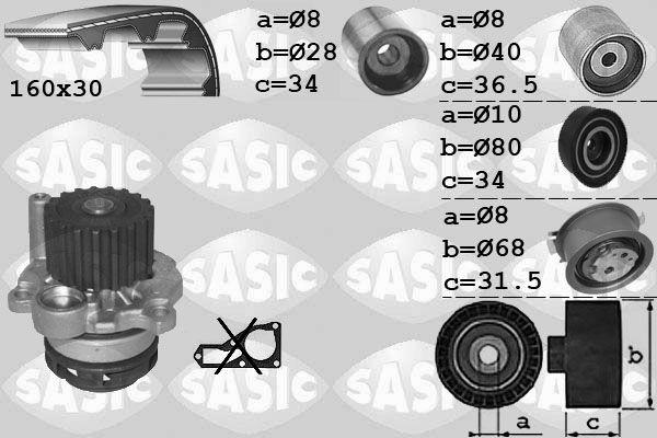 Pompe à eau + kit de courroie de distribution - SASIC - 3906082