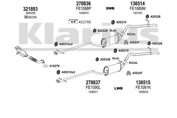 echappement ford tourneo connect 1 8 90cv  2002-2013